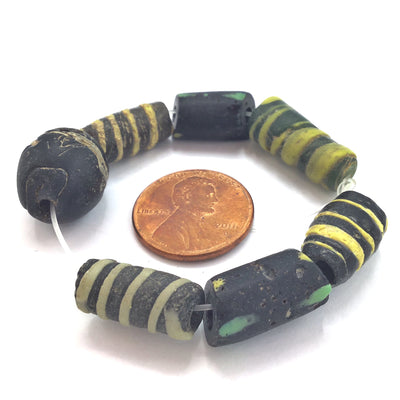 Short Strand of Mixed Black Decorated Antique Beads - Rita Okrent Collection (ANT501)