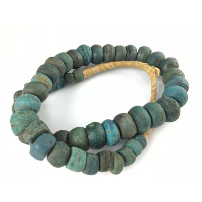 African Antique Blue Green Hebron Kano Beads, Sudan - Rita Okrent Collection (AT0608d)