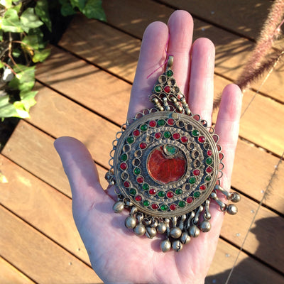 Antique Circular Kuchi Afghani Pendant with Red and Green Settings and Dangles - P109