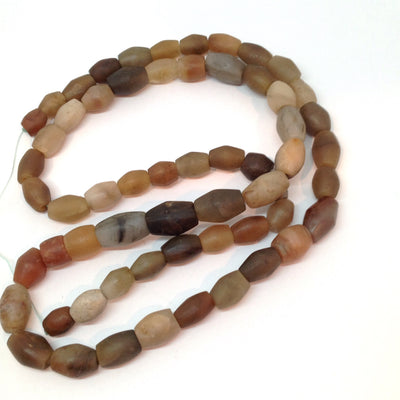 Ancient Excavated Gray, Beige and Brown Carved Stone Beads, Strand, Mauritania or Mali - Rita Okrent Collection (S339)