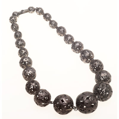 Ethnic Old Silver Graduated Filigree Beaded Choker Necklace, Turkey, Malta or Balkans - Rita Okrent Collection (NE110)
