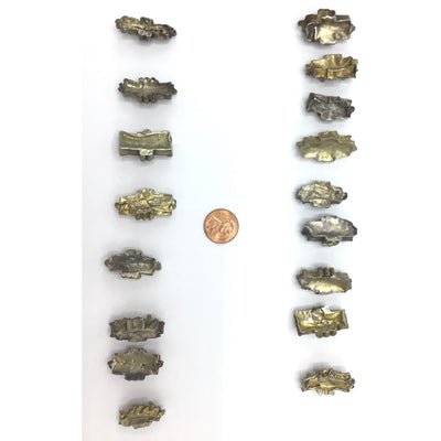 Mauritanian Gilded Silver Gold Washed Rectangular Hair Bead Ornaments - Rita Okrent Collection (C554r)