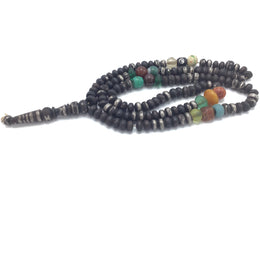 Vintage Ebony with Silver Inlay Rosary Prayer Worry Beads or Tasbir Chaplet Morocco Mauritania Sahara - Rita Okrent Collection (ANT434abc)