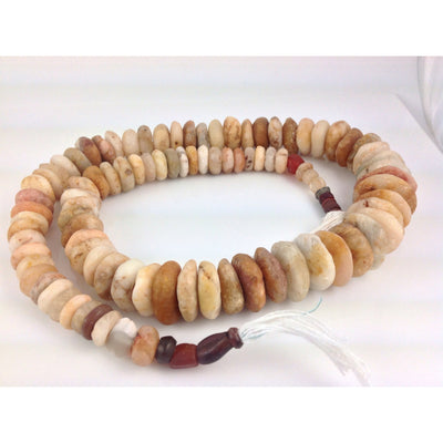 Ancient Excavated Hand-Carved Graduated Strand of Neolithic Agate Stone Beads, Mali - S344