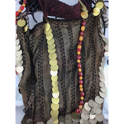 Sinai Bedouin Veil Headdress with Hanging Beads And Coins - Rita Okrent Collection (C676)