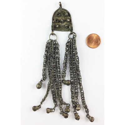 Bedouin Silver Metal Hanging Pendant with Long Chains and Tiny Bells - Rita Okrent Collection (P681)