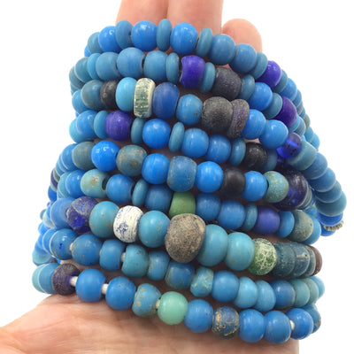 Venetian Blue Glass European Padre Beads, Plastic Beads and Antique Glass Bead Strands - RitaOkrentCollection (AT0680)