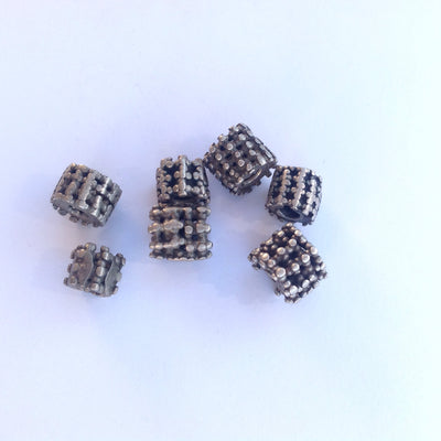 Antique Yemeni Granulated Silver Cylinder Beads - Rita Okrent Collection (ANT409)
