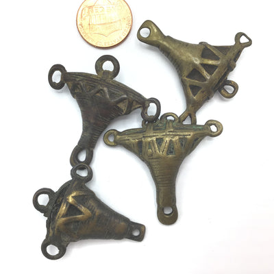 Set of Vintage African Baule Bronze and Copper Anchor-Shaped Pendants - Rita Okrent Collection (P836)