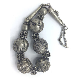 Traditional Yemeni Silver Beaded Necklace - Rita Okrent Collection (C565)