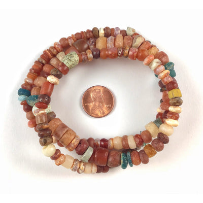 Strand of Smaller Size Carnelian, Agate and Blue Glass Beads, Mali - Rita Okrent Collection (S405)