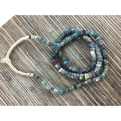 Graduated Mixed Blues Faded Excavated Ancient Glass Small to Medium Sized Nila Beads, Djenne, Mali  - Rita Okrent Collection (AT0629n)