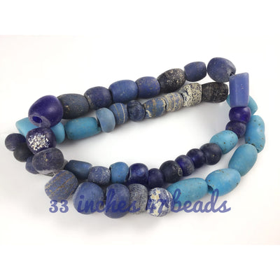 Antique Mixed Blue Large Dutch and European Glass Beads - Rita Okrent Collection (ANT499)