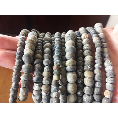 Rare Round Gray Excavated Ancient Glass Graduated Medium Sized Nila Beads, Djenne, Mali  - Rita Okrent Collection (AT0639gry)
