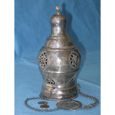Antique Silver Synagogue Lamp