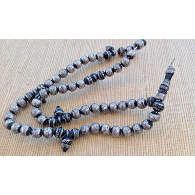 Old Mauritanian Ebony and Silver Prayer Beads with Fine Silver Work, Focal Pendant and 5 Drop Pendants - ANT299
