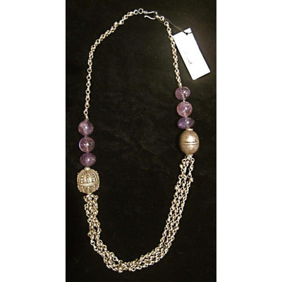 Antique Yemeni Silver and Antique Amethyst Bead Necklace with Silver Chain