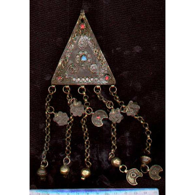 Triangular Silver Pendant with Blue and Red Insets and Charms