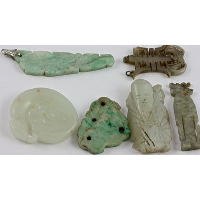 Antique Carved Chinese Jade and Jadeite Pendants, China - P205b