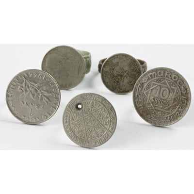 Old Coin Rings,  Set of 5, Morocco