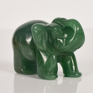 Elephant Figurines Carved In Natural Green Aventurine Crystal