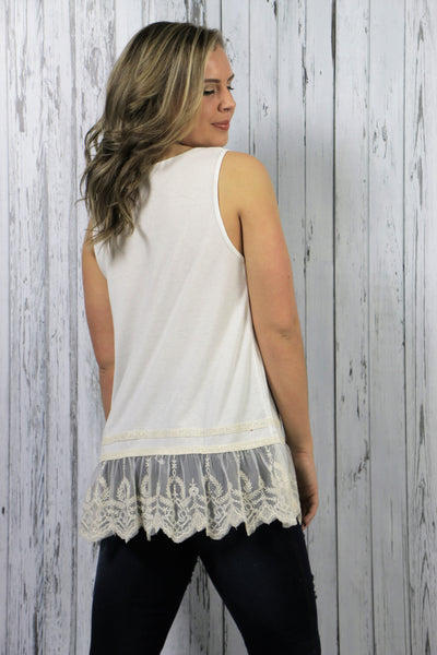 86b536cbdf984 Cream Lace Sleeveless Top - Margarita Dreamin Boutique
