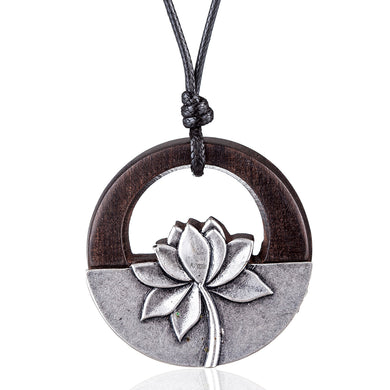 Black sandalwood with lotus Flower Pendant