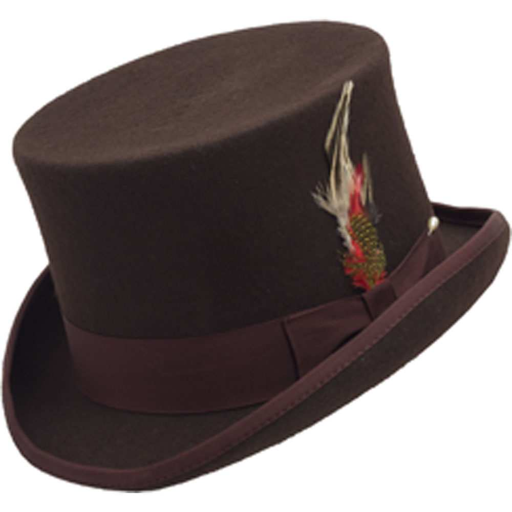 WOOL TOP HAT BROWN