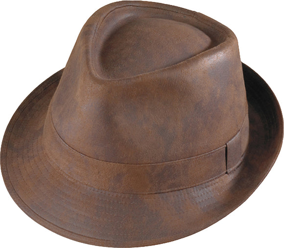 LEATHER FEDORA BROWN DISTRESS