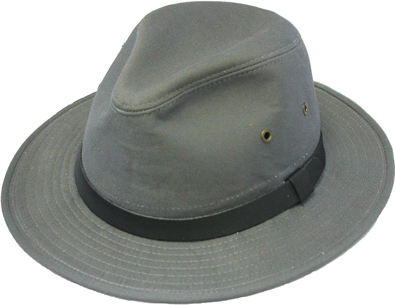 Henschel Hats SAFARI Smooth Garment LEATHER Lined Fedora Hat Black