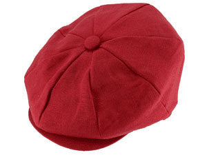 CAPAS LINEN NEWSBOY CAP RED
