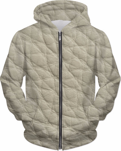 Women's Ivory Faux Leather Print Hoodie - Krysia