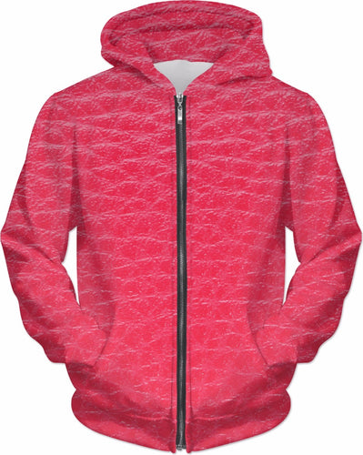 Women's Red Faux Leather Print Hoodie - Krysia