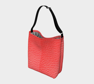 Red Day Tote - Faux Leather Print Neoprene