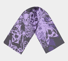 Purple Skull and Butterfly Scarf