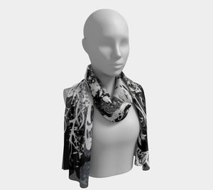 Black Skull and Butterfly Scarf