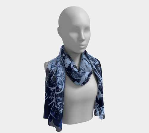 Indigo Blues Skull and Butterfly Scarf