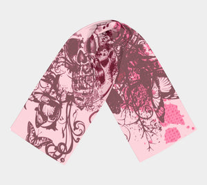 Pink Skull and Butterfly Scarf