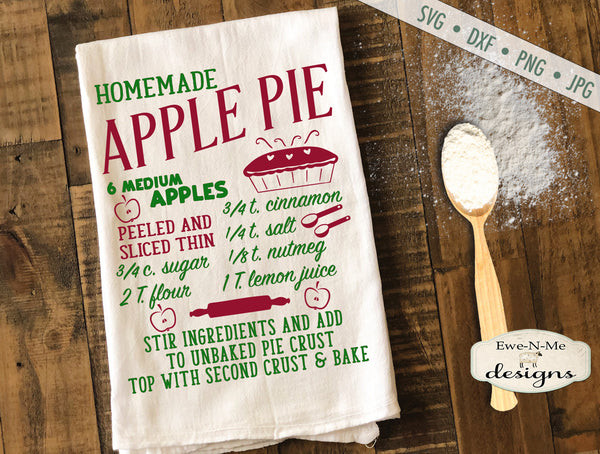 Apple Pie Recipe - Kitchen - SVG