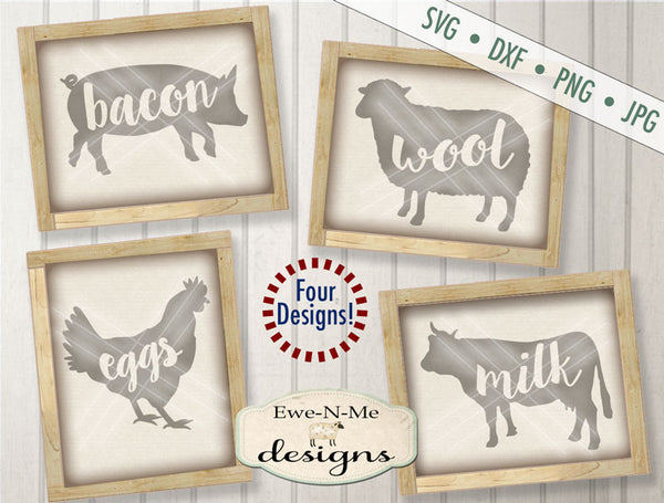 Bacon Eggs Milk Wool Farm Animals - SVG