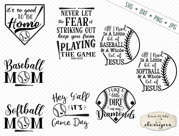 Baseball Softball Cutting File Bundle Pack - SVG