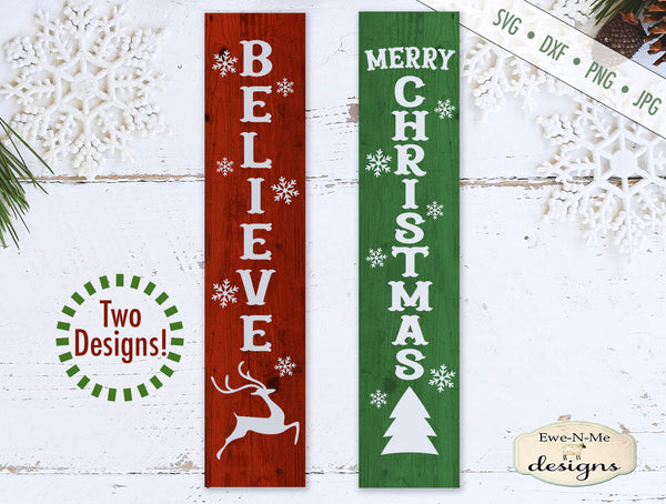 Merry Christmas - Believe Vertical - SVG