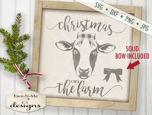 Christmas on the Farm Cow - SVG