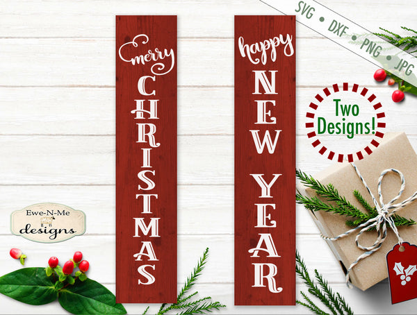 Merry Christmas - Happy New Year Vertical - SVG