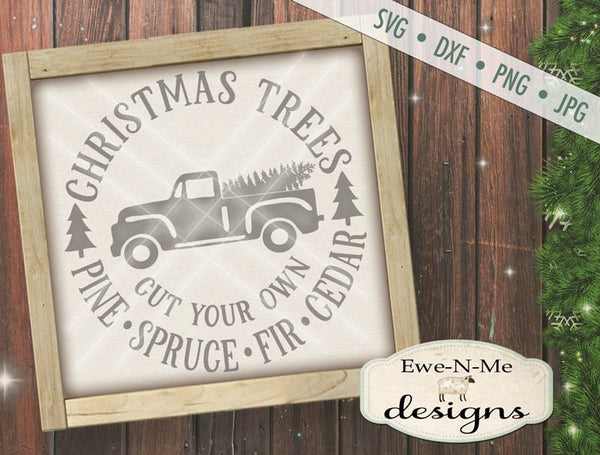 Christmas Trees Truck Round - SVG