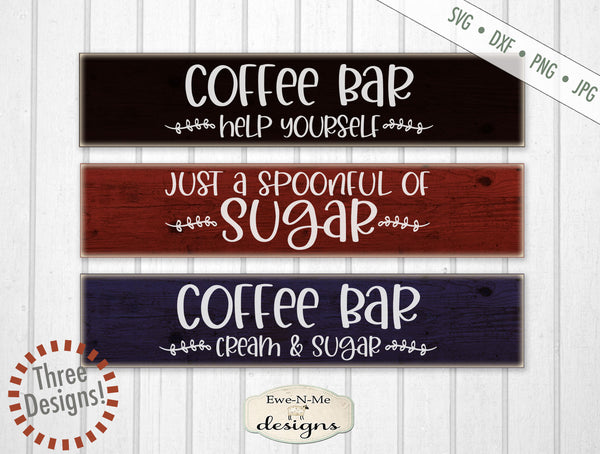 Coffee Bar Mini Bundle - Coffee Cream Sugar - SVG