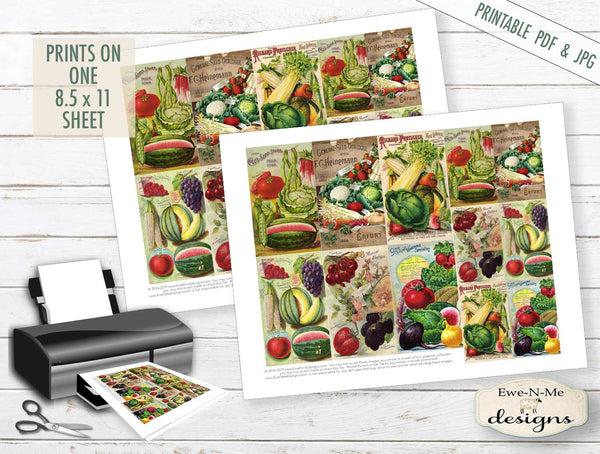 Collage Sheet - Victorian Seed Pack  - PRINTABLE