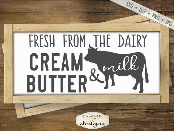 Cream Butter and Milk - Fresh Dairy - SVG
