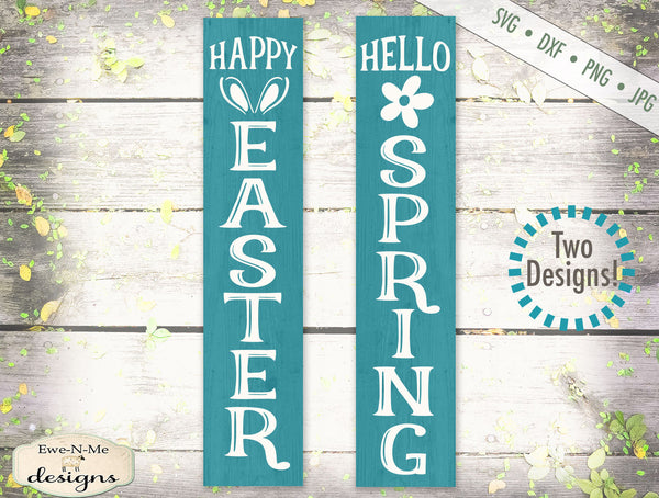 Hello Spring -  Happy Easter -  Vertical - SVG