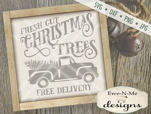Christmas Trees Old Vintage Truck - SVG